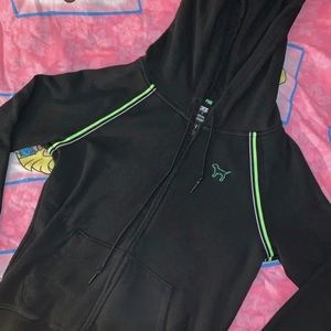 PINK VICTORIA SECRET NEON GREEN STRIPED JACKET